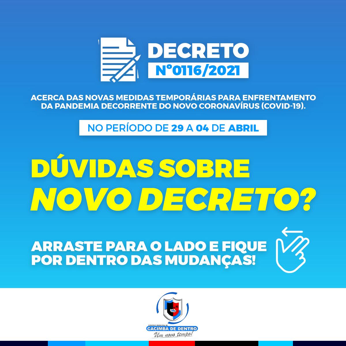 DECRETO Nº0116/2021 MEDIDAS TEMPORÁRIAS PARA ENFRENTAMENTO DA PANDEMIA